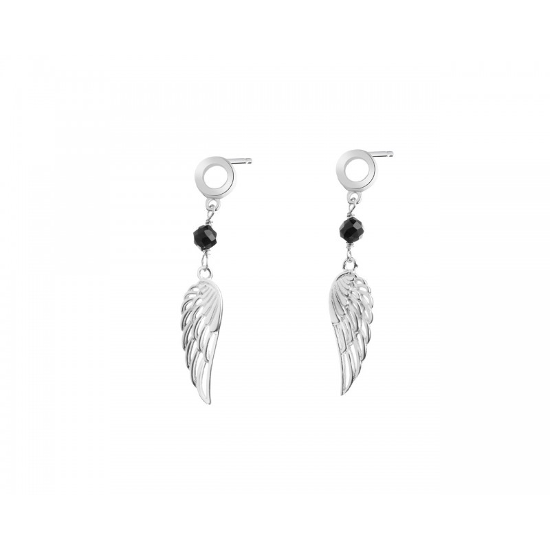 925 Sterling Silver angel wing bead earrings