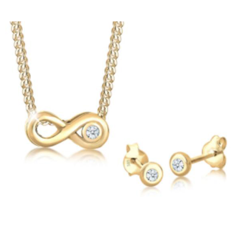 925 Sterling Silver infinity  necklace and earring...