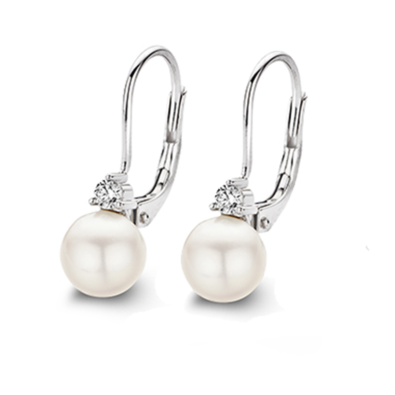 925 Sterling Silver pearl cubic hoop earrings
