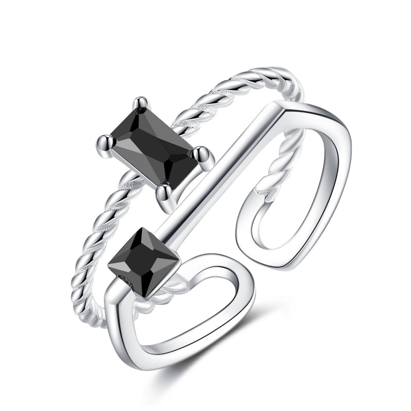 925 Sterling Silver Doule Layers with Princess Cut...