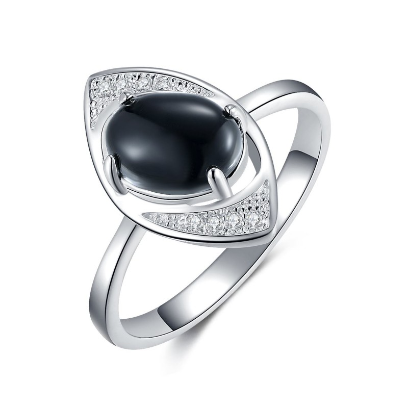 925 Sterling Silver Black Oval Cut and White Round...