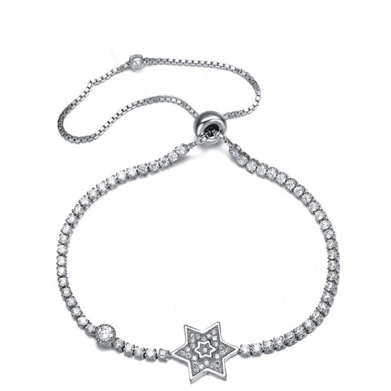925 Sterling Silver Star with White Zircon Adjusta...