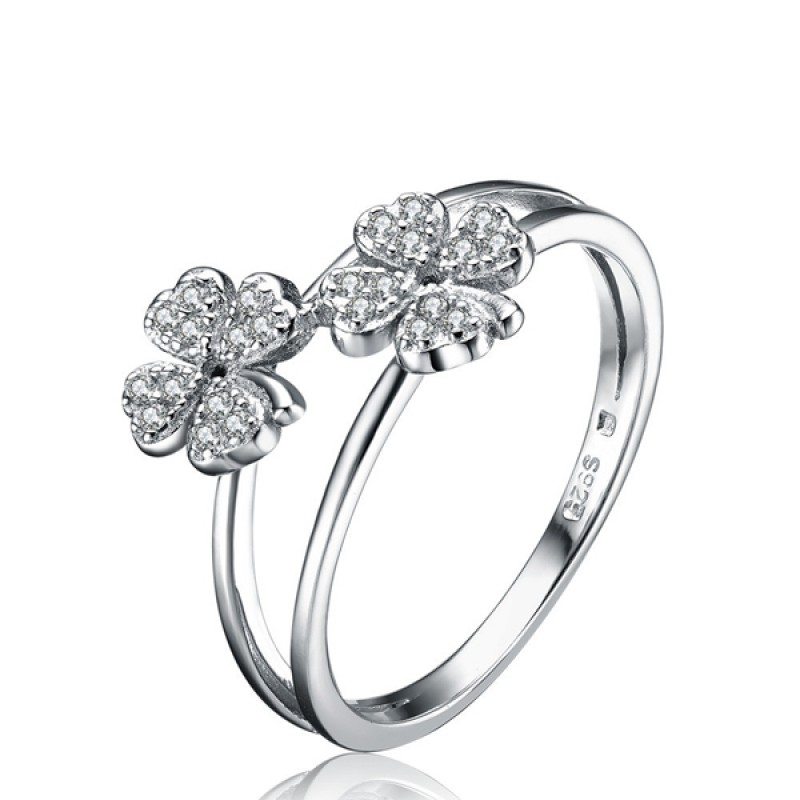 FINEFEY Sterling Silver Clover Motif Zirconia Ring for Women