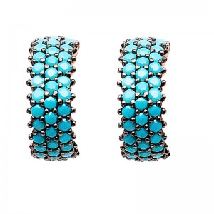 FINEFEY Sterling Silver Gold plating Turquoise CZ...