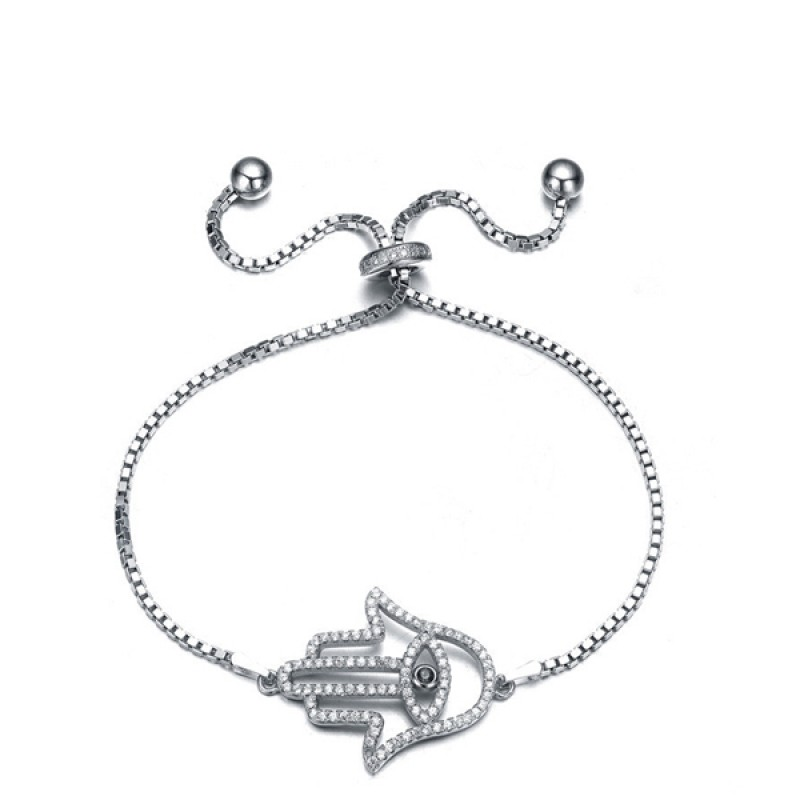 FINEFEY Sterling Silver  Hollow Palm Charm Bracelet for Women Girl